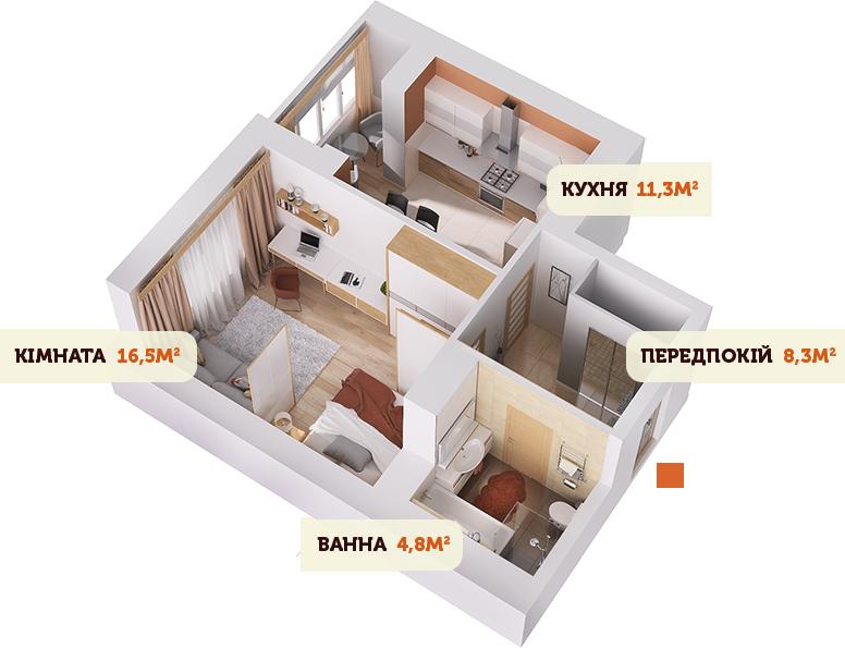 Вітальня і спальня в одній кімнаті 2 - фото 10