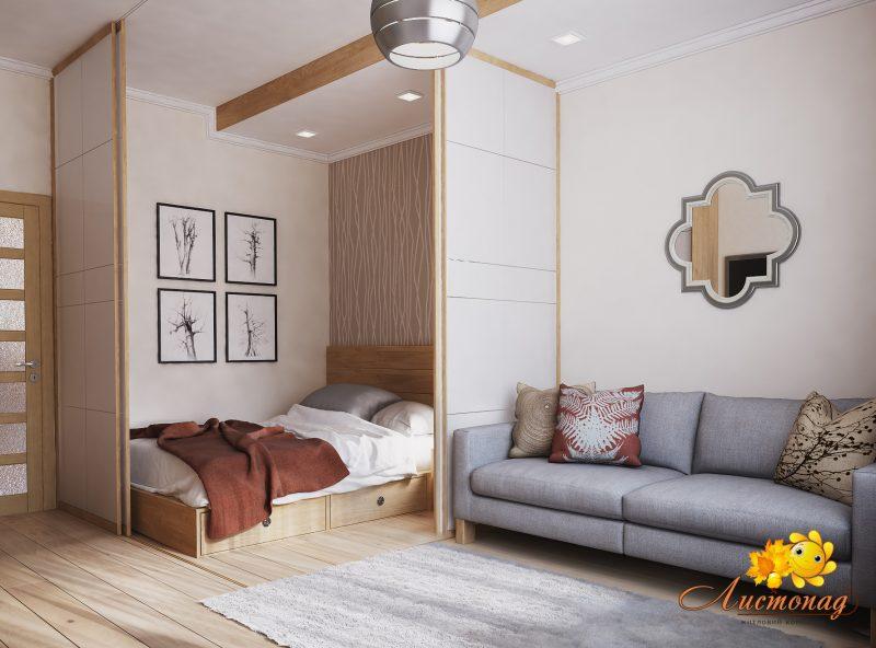 Вітальня і спальня в одній кімнаті 2 - фото 3