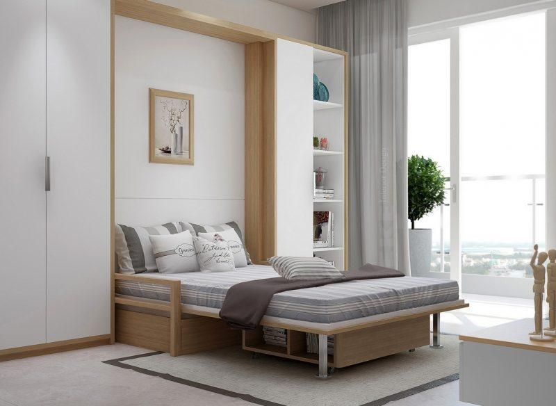 Фото інтер'єру спальні з ліжко у шафі