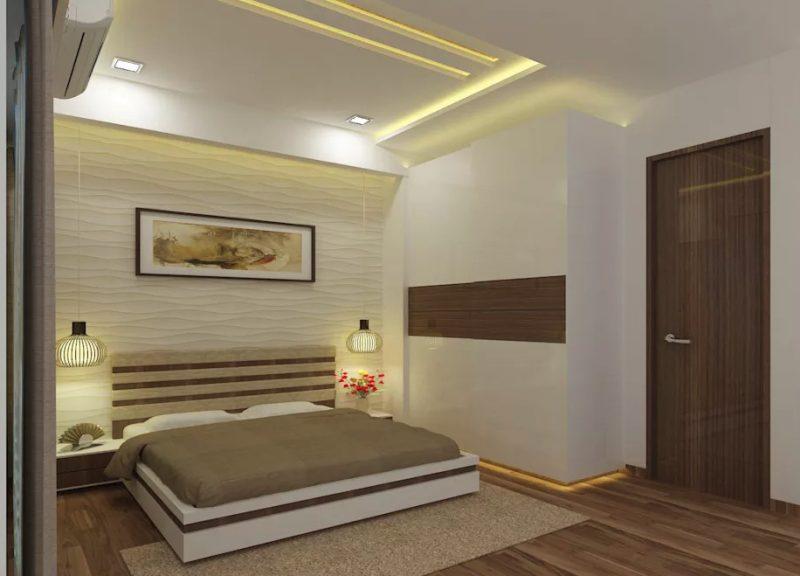 Фото сучасного інтер'єру спальні з 3D панелями