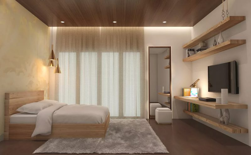 Фото сучасного інтер'єру спальні зі стелею під дерево