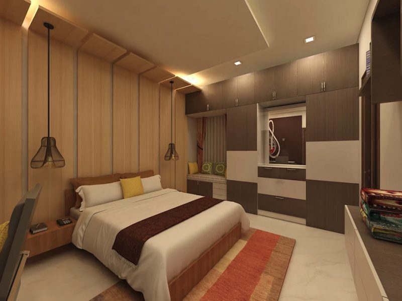 Гарний інтер'єр спальної кімнати в сучасному стилі