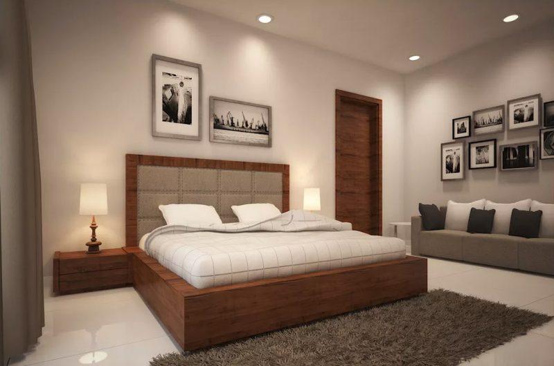 Гарний сучасний інтер'єр спальної кімнати