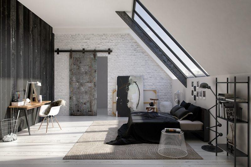 Інтер'єр спальні на мансардному поверсі
