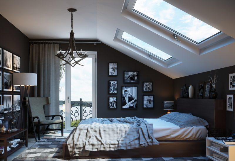Інтер'єр спальні на мансардному поверсі - фото 2