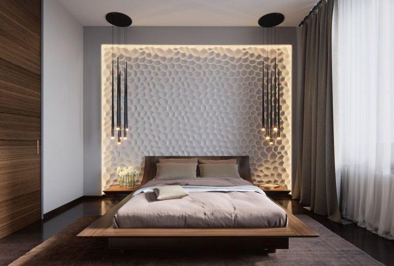 Інтер'єр спальні з гіпсовими 3D панелями