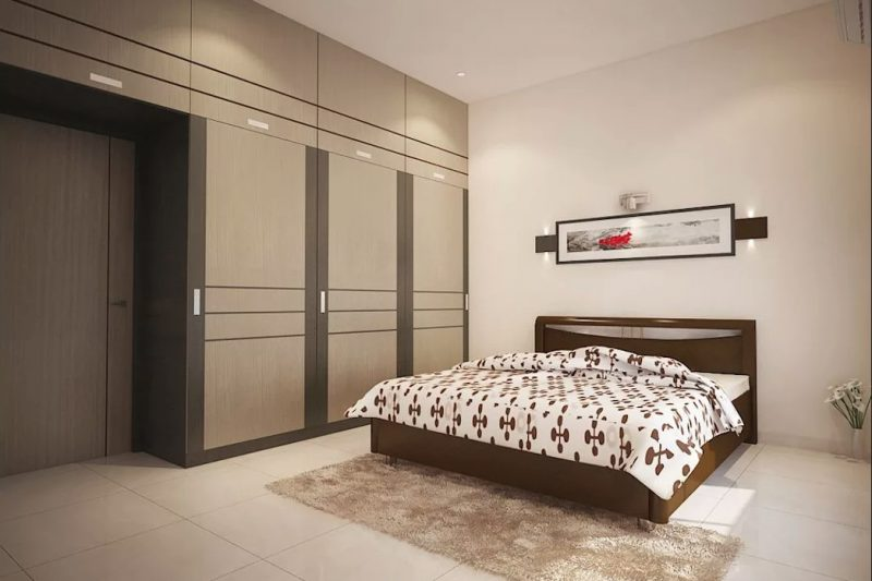 Інтер'єр спальні з великою шафою в сучасному стилі