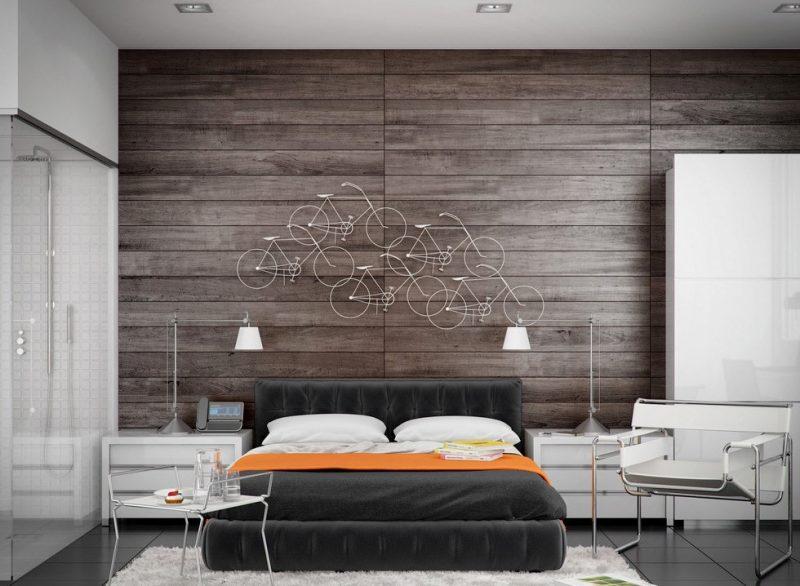 Інтер'єр спальні зі стіною з дерева