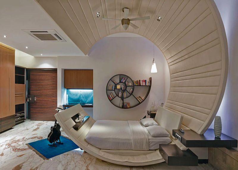 Незвичайний інтер'єр спальні в сучасному стилі