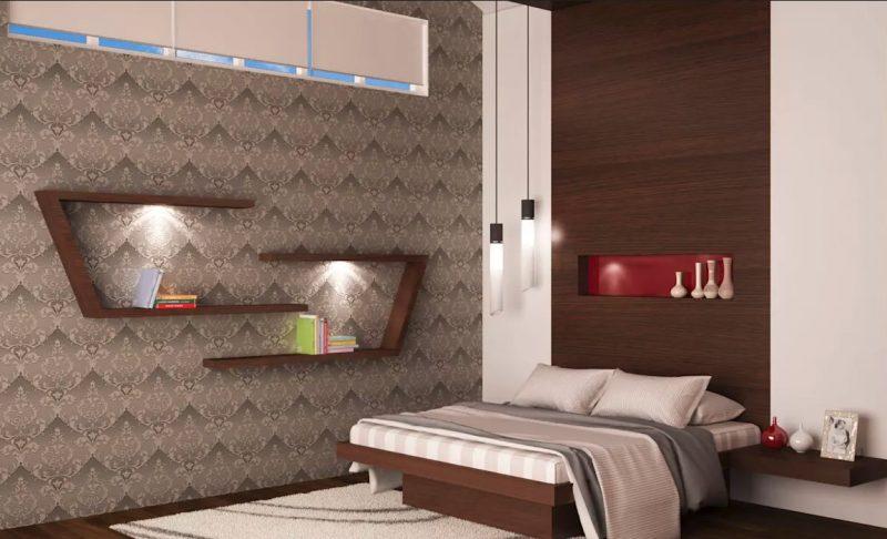 Оформлення спальні з незвичайними поличками