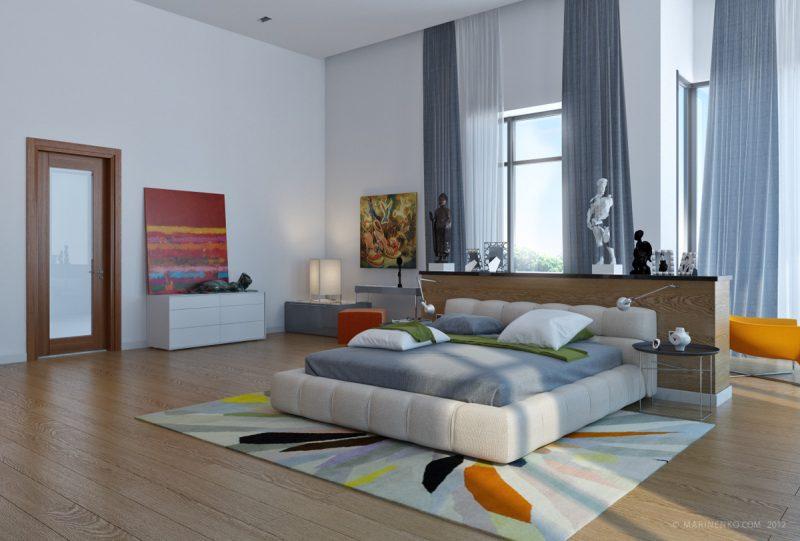 Велика спальня з сучасним інтерєром
