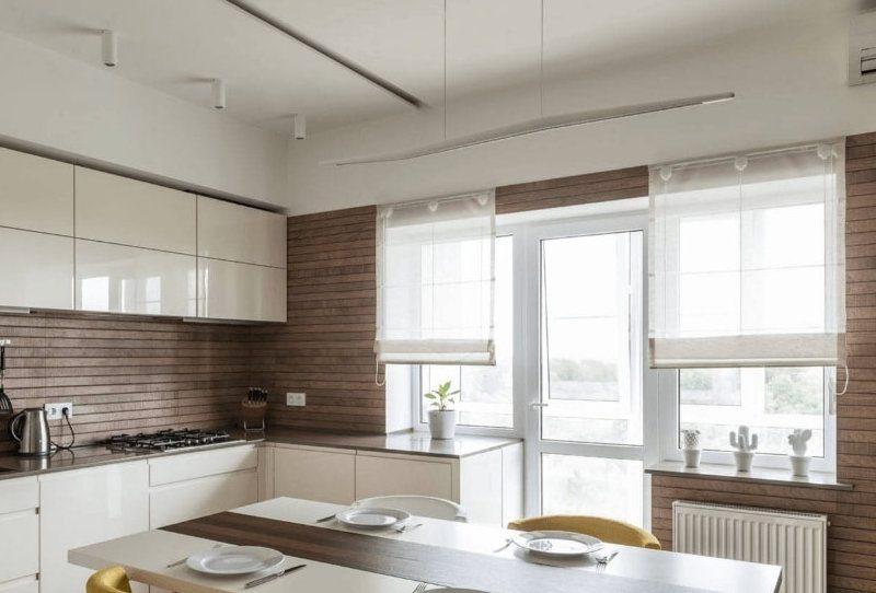 Легкі римські штори для кухні - фото 18