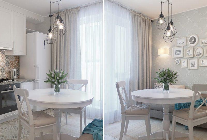 Прямі штори на кухні - фото 32