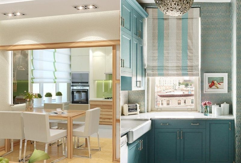 Римські штори на кухні - фото 36