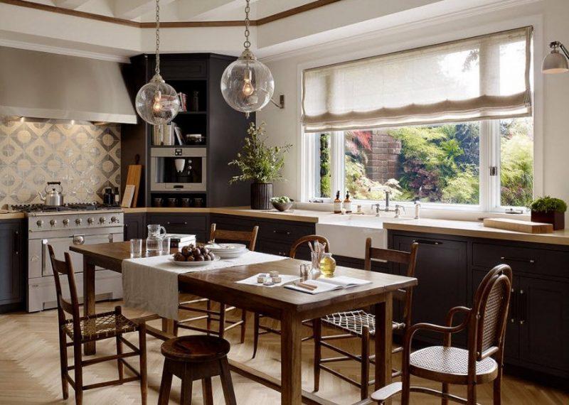 Римські штори в кухні - фото 50