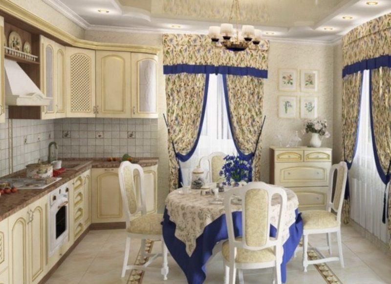 Штори на кухні в класичному стилі - фото 31