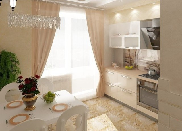 Штори на кухні з виходом на балкон - фото 30