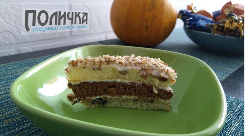 Бісквітний торт з сметанним кремом і горіхами рецепт з фото - 1