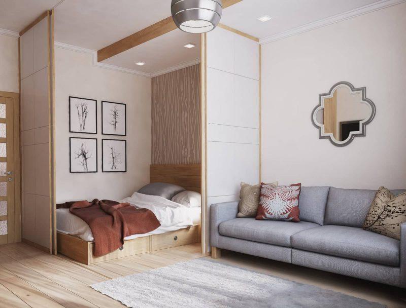Дизайн однокімнатної квартири 1 - фото кімнати 2