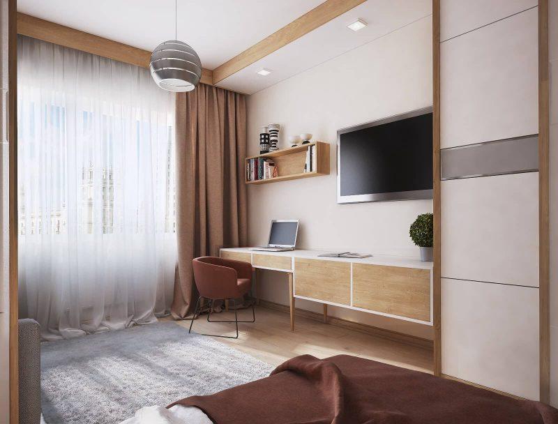 Дизайн однокімнатної квартири 1 - фото кімнати