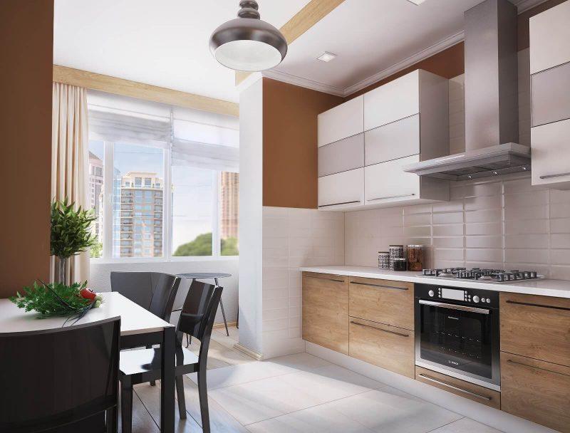 Дизайн однокімнатної квартири 1 - фото кухні 2