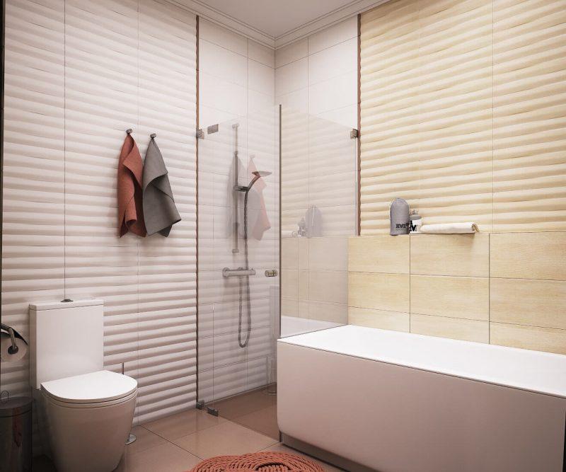 Дизайн однокімнатної квартири 1 - фото ванної 2