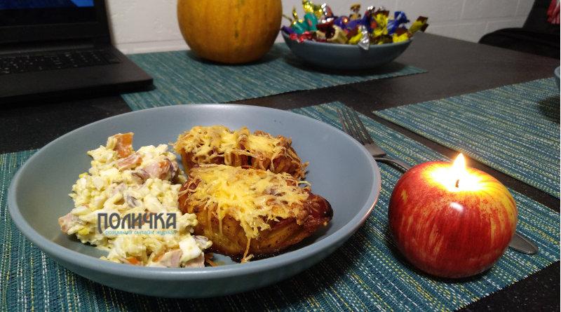 Картопля запечена з ковбасою в духовці фото - 8