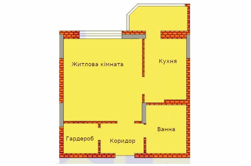 Планування однокімнатної квартири 36 м