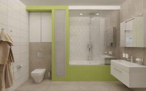 Планування ванної з душем і туалетом 2