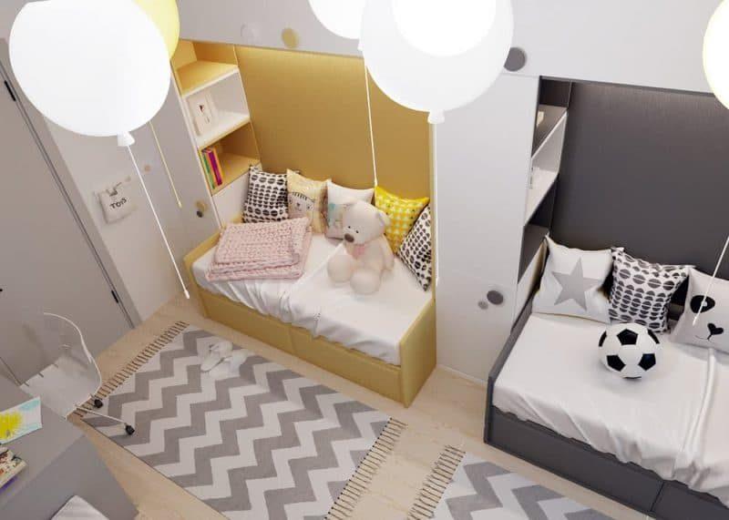 Дитячі кімнати для двох різностатевих дітей - фото 1
