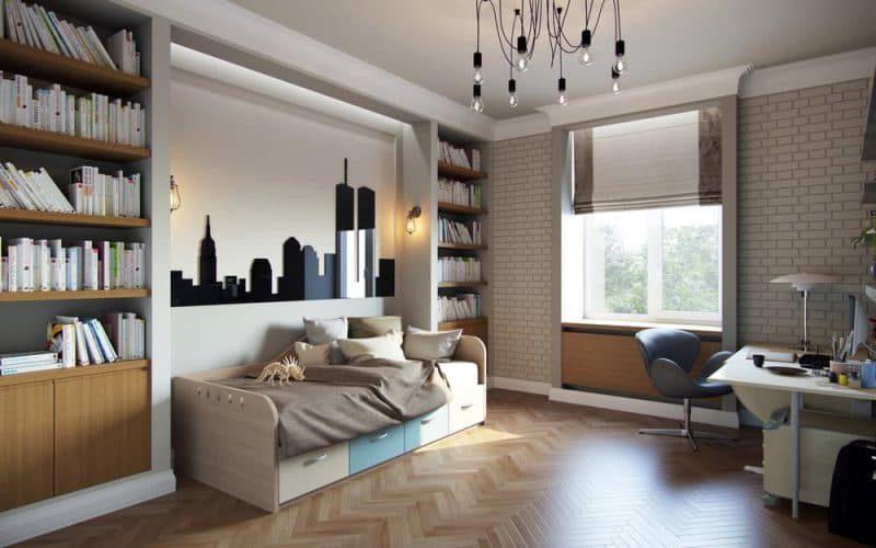 Дизайн кімнати для молодого хлопця в стилі лофт - фото 1