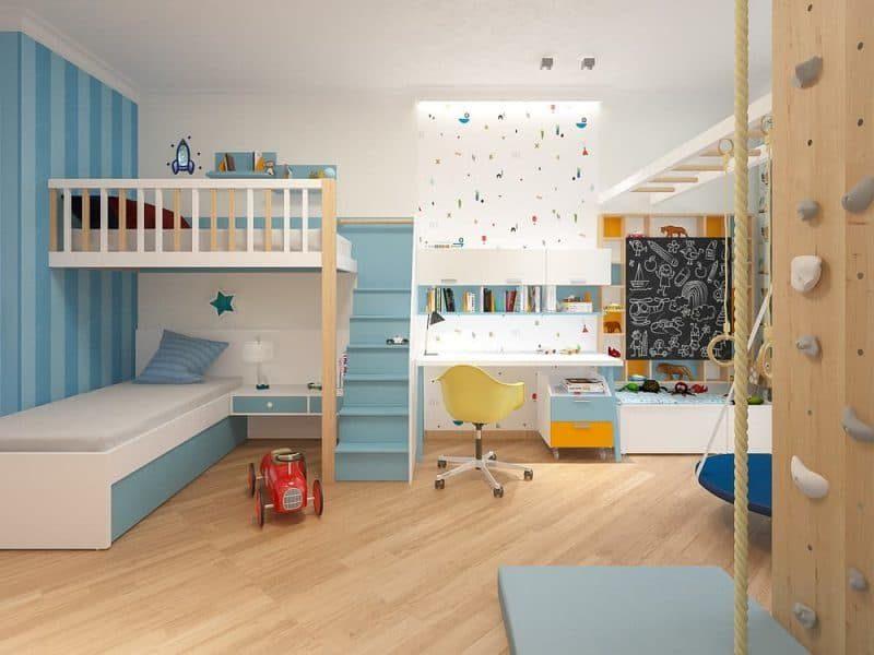 Сучасна дитяча кімната для двох хлопчиків - дизайн 1 фото 2
