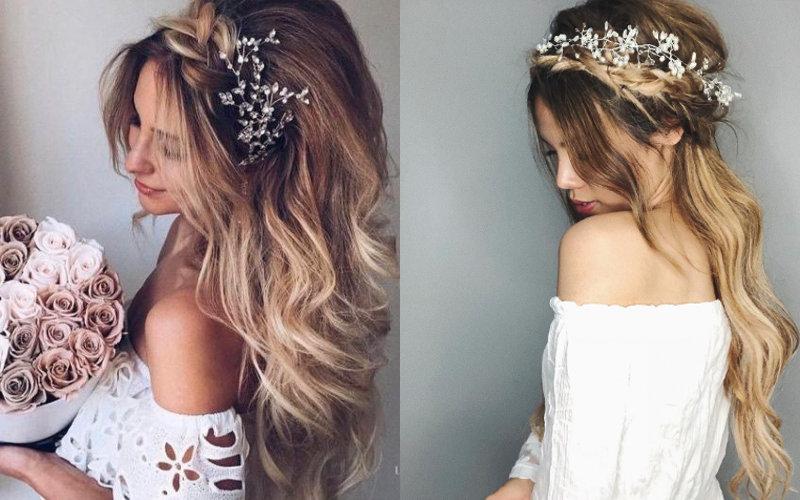 Весільні зачіски на довге волосся фото - 2