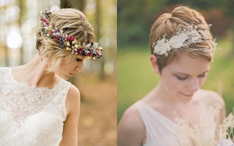 Весільні зачіски на коротке волосся фото - 1