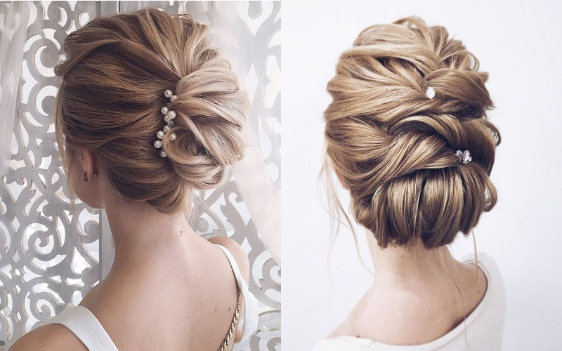 Весільні зачіски на середнє волосся фото - 11