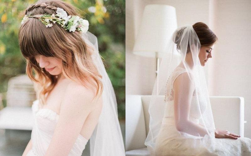 Весільні зачіски з діадемою та фатою фото - 1