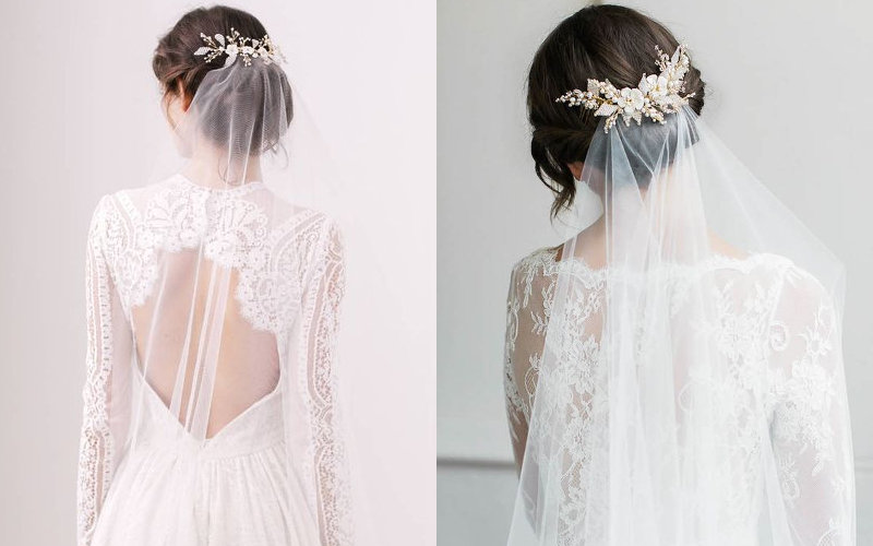 Весільні зачіски з діадемою та фатою фото - 2