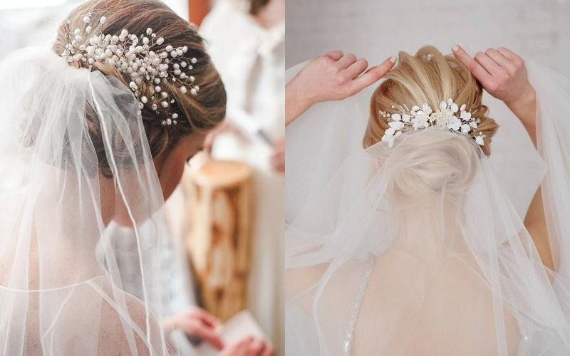 Весільні зачіски з діадемою та фатою фото - 3