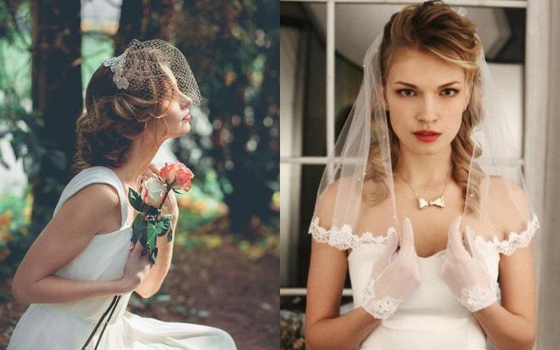 Весільні зачіски з діадемою та фатою фото - 5