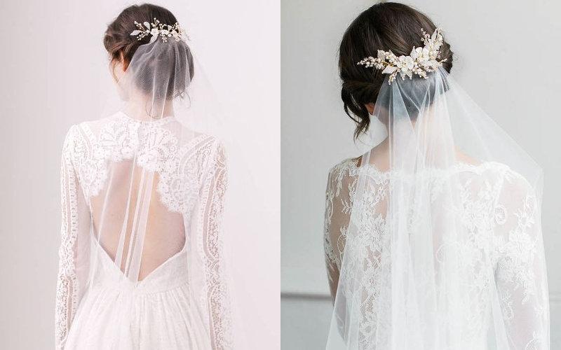 Весільні зачіски з діадемою та фатою фото - 7