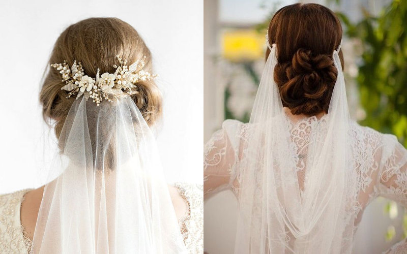 Весільні зачіски з діадемою та фатою фото - 8