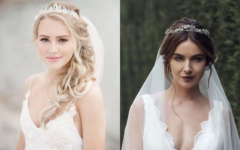 Весільні зачіски з діадемою та фатою фото - 9