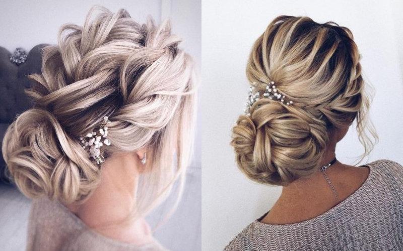 Весільні зачіски з елементами плетінням фото - 1