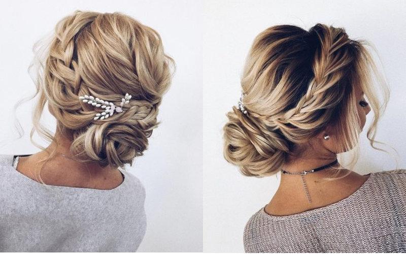 Весільні зачіски з елементами плетінням фото - 2