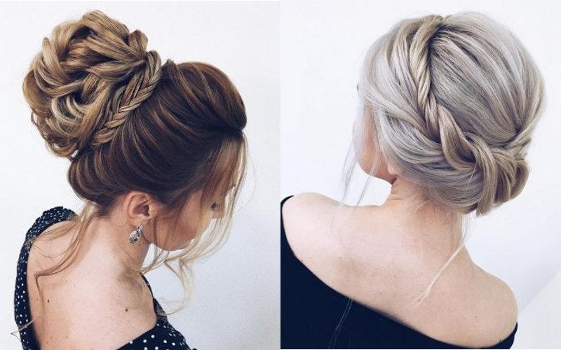 Весільні зачіски з елементами плетінням фото - 3