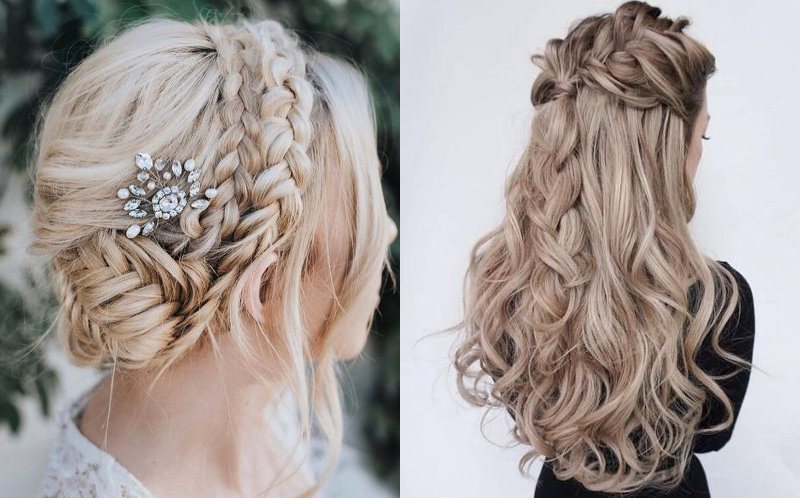 Весільні зачіски з елементами плетінням фото - 9