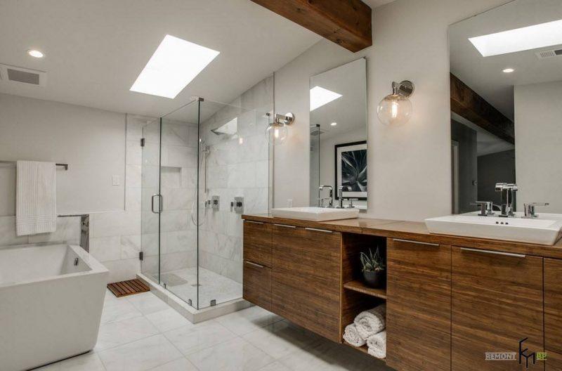 Дизайн великої ванної з душем